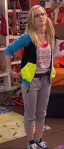 Maddie's heart print top and colorblock hoodie on Liv and Maddie