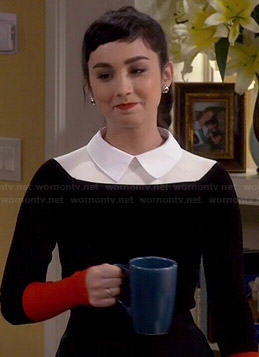 Mandy's black and red collared colorblock sweater on Last Man Standing