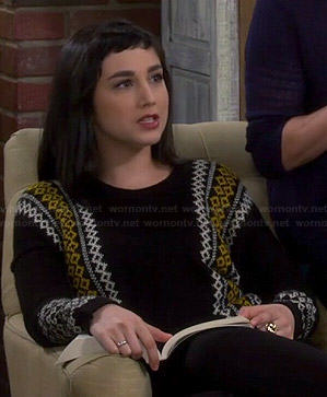 Mandy's black and yellow fair isle sweater on Last Man Standing