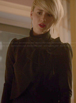 Margaux's black bow neck jacket on Revenge