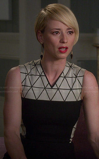 Margaux's black and white triangle print dress on Revenge