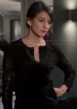 Maureen's black lace sleeve cardigan on State of Affairs