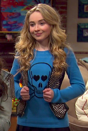 Maya's blue skull sweater and studded vest on Girl Meets World