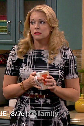 Mel's black checked and floral print dress on Melissa and Joey