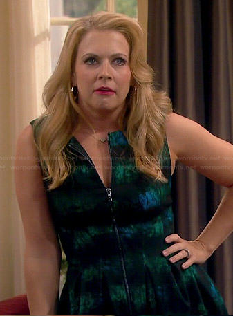 Mel's black and green printed zip front dress on Melissa and Joey