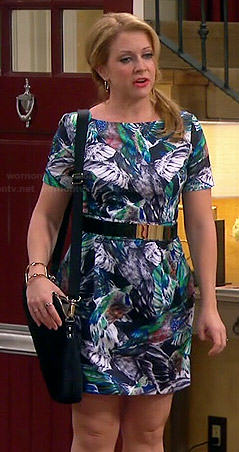 Mel's tropical bird printed dress on Melissa and Joey