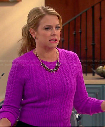 Mel's pink cable knit sweater on Melissa and Joey