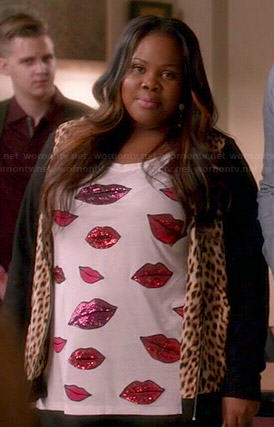 Mercedes's embellished lips tee and leopard print bomber jacket on Glee