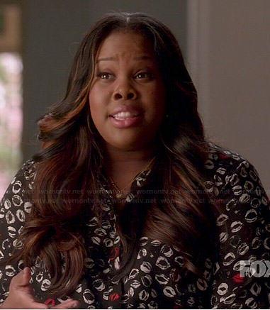 Mercedes's black lips print top on Glee