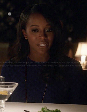 Michaela's blue quilted sweater on How to Get Away with Murder