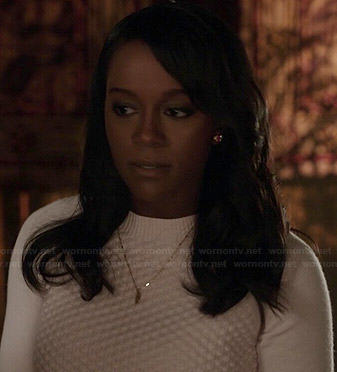 Michaela's pink quilted sweater on How to Get Away with Murder