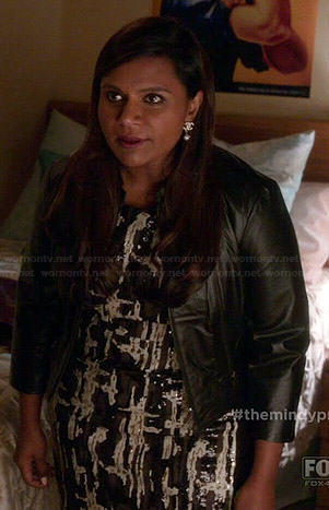 Mindy's black, white and brown sequinned pattern dress on The Mindy Project