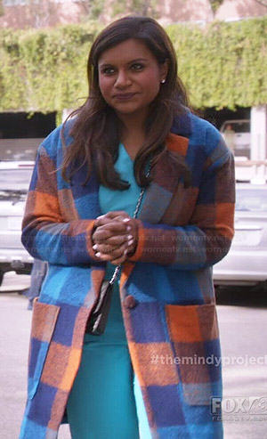 Mindy's blue and orange checked coat on The Mindy Project
