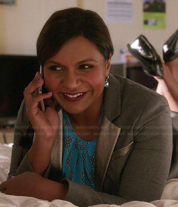 Mindy's blue printed blouse and silver lapel blazer on The Mindy Project