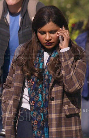 Mindy's brown plaid coat on The Mindy Project