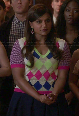 Mindy's multi-colored argyle sweater on The Mindy Project