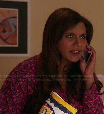 Mindy's purple and pink floral pajamas on The Mindy Project