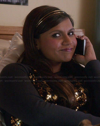 Mindy's gold houndstooth sweater on The Mindy Project