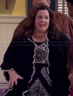 Molly's scarf printed maxi dress and black and white ruffle cardigan on Mike and Molly