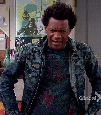 Motif's denim leopard print shirt on Mulaney