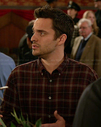 Nick's brown plaid shirt on New Girl