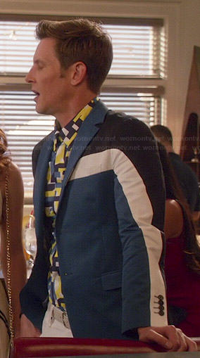 Nolan's blue colorblock blazer on Revenge