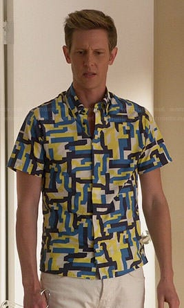 Nolan's blue and yellow geometric print shirt on Revenge