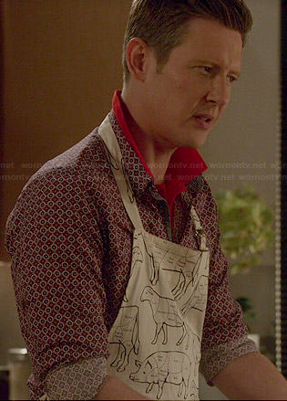 Nolan's meat cuts print apron on Revenge