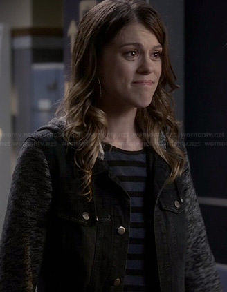 Paige's black denim jacket with grey sleeves on Pretty Little Liars
