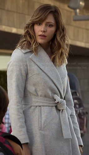 Paige's grey belted coat on Scorpion
