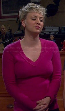 Penny's pink v-neck sweater on The Big Bang Theory