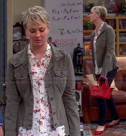 Penny's white floral shirt, green jacket and red bag on The Big Bang Theory