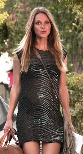 Phoebe's sheer beaded dress on Girlfriends Guide to Divorce
