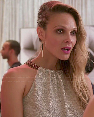 Phoebe's metallic beaded neck dress on Girlfriends Guide to Divorce