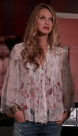 Phoebe's sheer floral blouse on Girlfriends Guide to Divorce