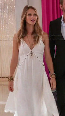 Abby's white handkerchief hem dress on Girlfriends Guide to Divorce