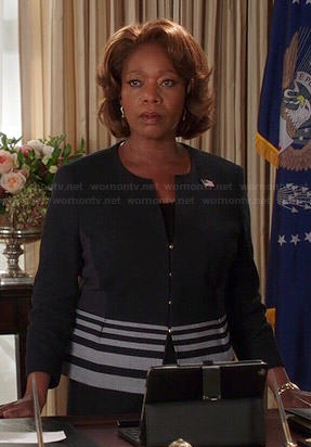 President Peyton's black striped peplum jacket on State of Affairs