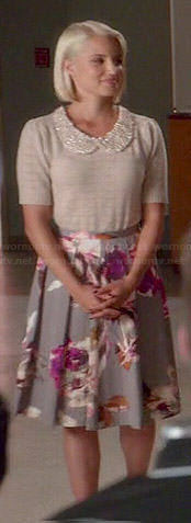 Quinn's grey floral skirt and embellished collar top on Glee