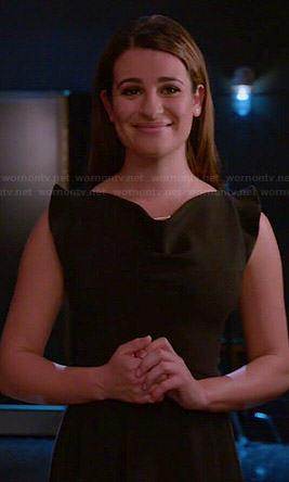 Rachel's black pointed shoulder dress on Glee