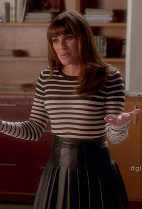 Rachel's black and white striped top and pleated leather skirt on Glee