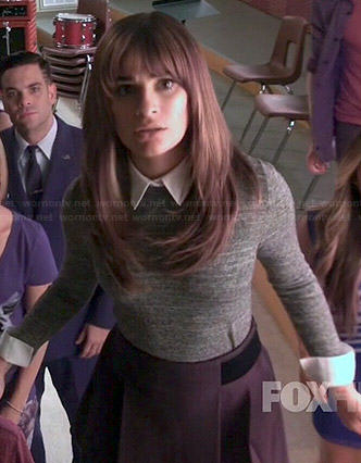 Rachel's grey collared sweater and black skirt on Glee