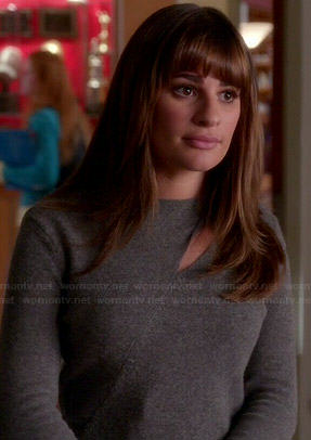 Rachel's grey cutout sweater on Glee