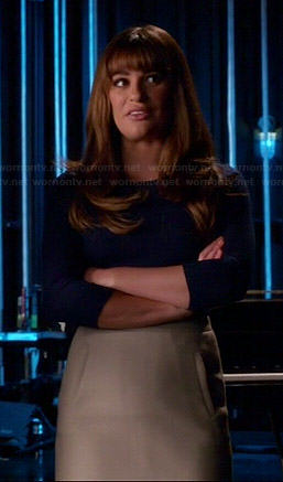 Rachel's navy blue sweater and beige front-pocket skirt on Glee