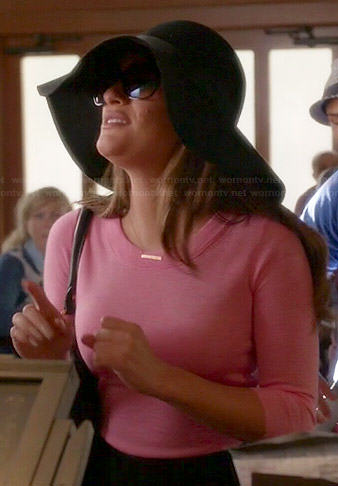 Rachel's pink sweater and black floppy hat on Glee