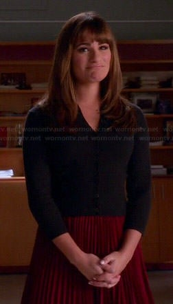 Rachel's red pleated skirt and navy blue cardigan on Glee