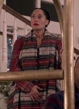 Rainbow's long striped blanket vest on Black-ish