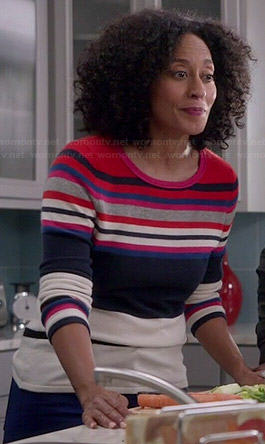 Rainbow's multi colored stripe sweater on Black-ish