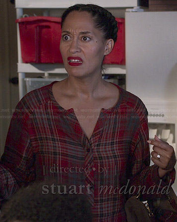 Rainbow's red plaid blouse on Black-ish