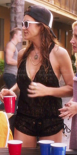 Rebecca's black crochet cover-up romper on Bad Judge