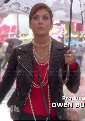 Rebecca's quilted leather jacket and Paris umbrella on Bad Judge